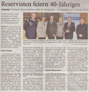 Reservisten feiern 40-Jähriges NWZ 13.01.2014 2