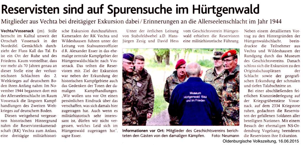 2015.06.16. OV - Reservisten sind auf Spurensuche im Hürtgenwald