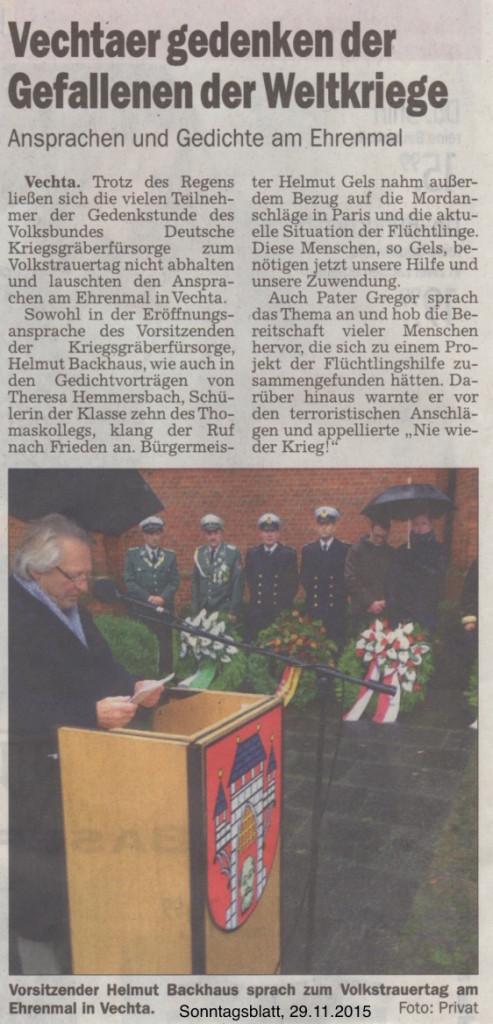 2015.11.29. Sonntagsblatt - Vechtaer gedenken der Gefallenen der Weltkriege